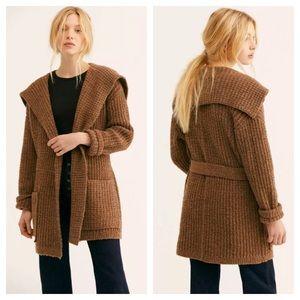 Free People Brown Taffy Sweater Cardigan L